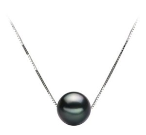 black floating pearl necklace