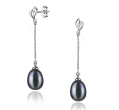 black large pearl earrings