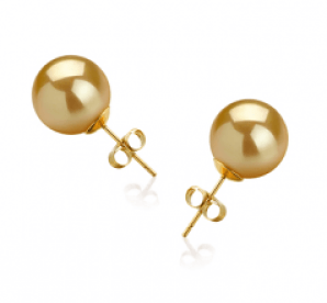 gold big pearl earrings