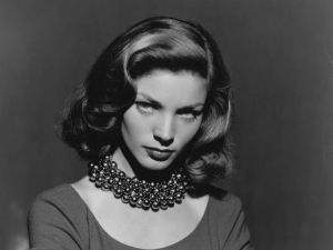 lauren bacall wearing pearls