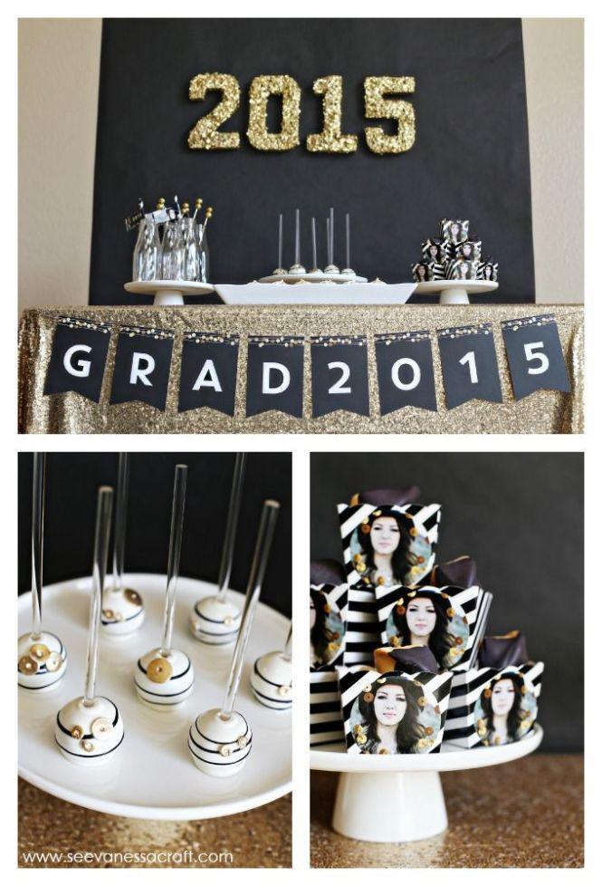 Black Gold Glamorous Graduation Party Via Kara S Ideas Karaspartyideas Com 7