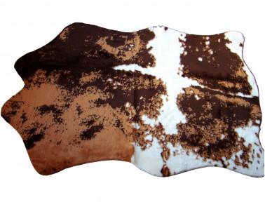 tapis imitation vache synthetique marron et blanc