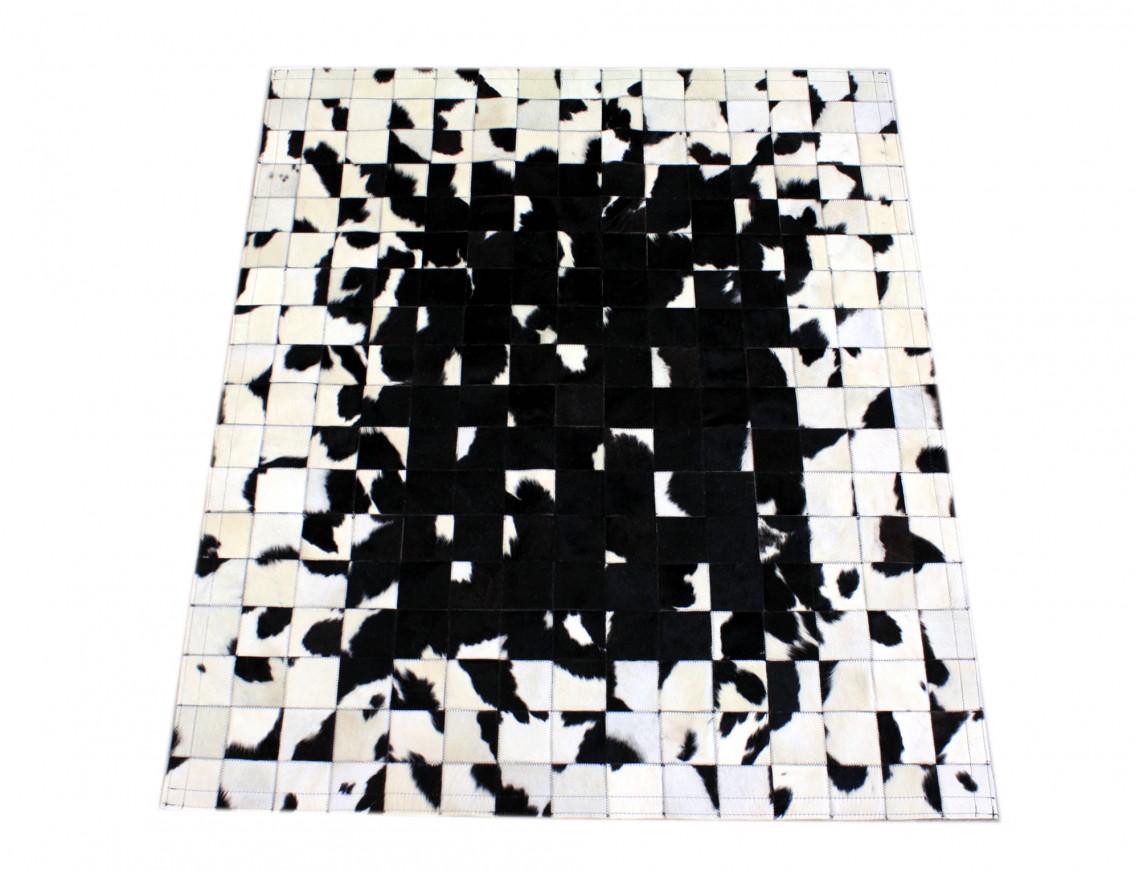 tapis patchwork pixel noir blanc 270 x 180 cm