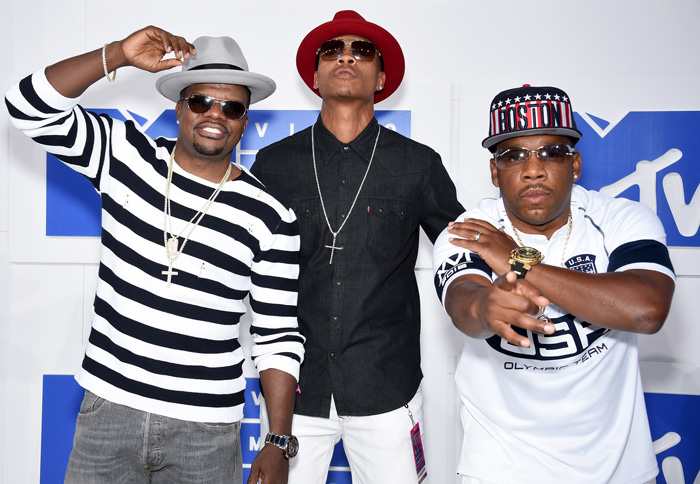 NEW YORK, NY - AUGUST 28:  Recording artists Ricky Bell, Ronnie Devoe and Michael Bivins of Bell Biv Devoe attends the 2016 MTV Video Music Awards at Madison Square Garden on August 28, 2016 in New York City.  (Photo by Dimitrios Kambouris/WireImage)