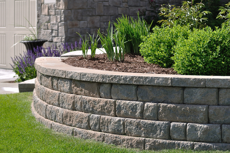 Picture of A Paver Retaining Wall at a Residential Home