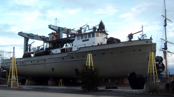 Fire Fighter primed for a new coat of paint this winter.   photo courtesy Fireboat Fire Fighter Museum