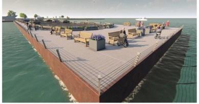 Landscape Designer Edmund Hollander's rendering of the proposed revitalization of Long Wharf