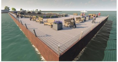 Landscape Designer Edmund Hollander's rendering of the proposed revitalization of Long Wharf