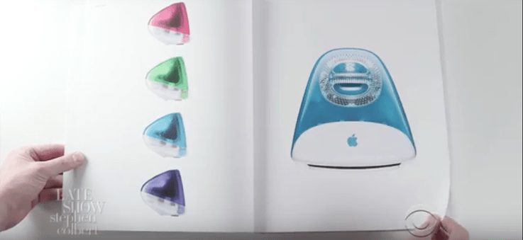 Stephen colbert pokes fun at apple 39 s design book video for Apple design book