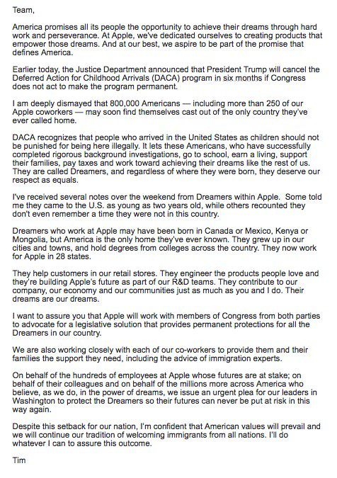 Here s Apple s DACA letter