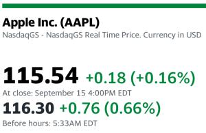 Apple premarket green 9-16