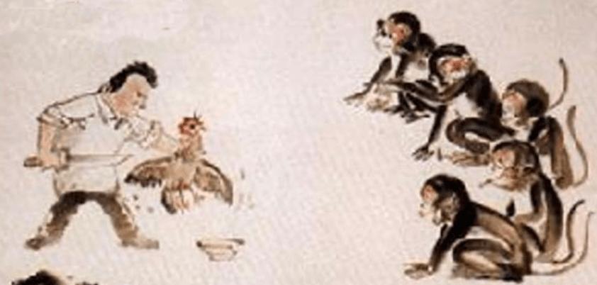 apple kill chicken scare monkey