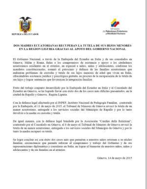 comunicato stampa ambasciata ecuador