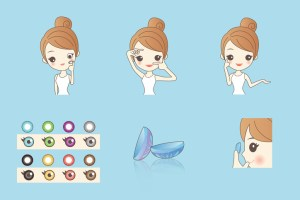 cartoon woman using contact lenses and cosmetics contact lenses
