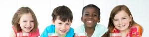 Four Children with Milk Shakes