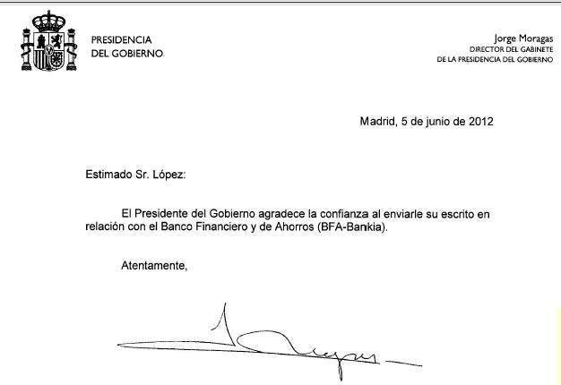 Queja Presidecia del gobierno - Bankia