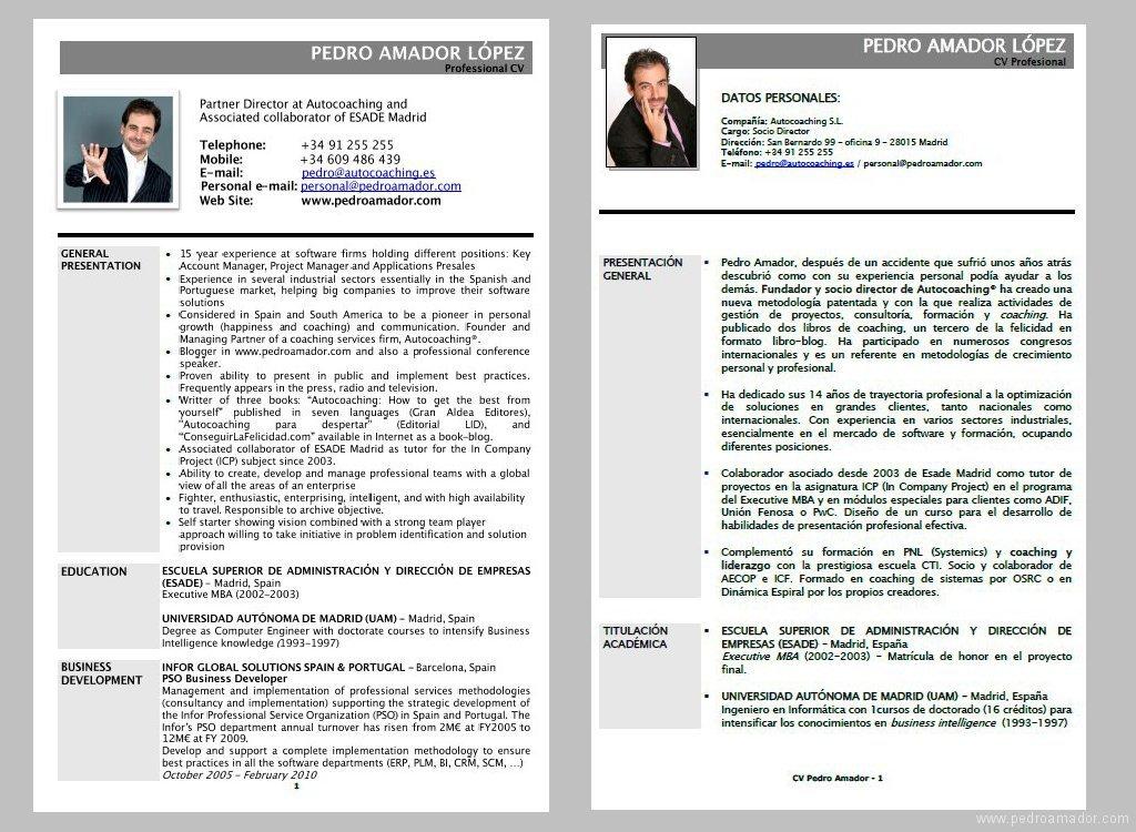 CV - Currículum Ejemplo Pedro Amador