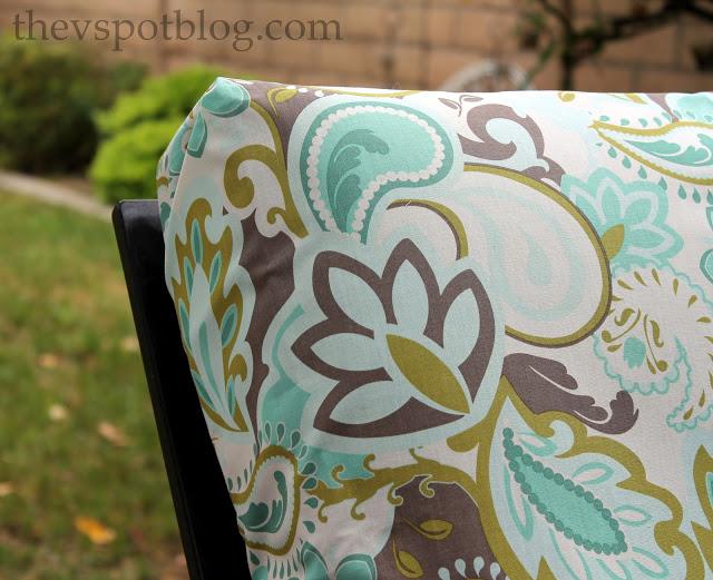 fabric, riley blake, patio furniture, turquoise, teal, cream, brown, paisley