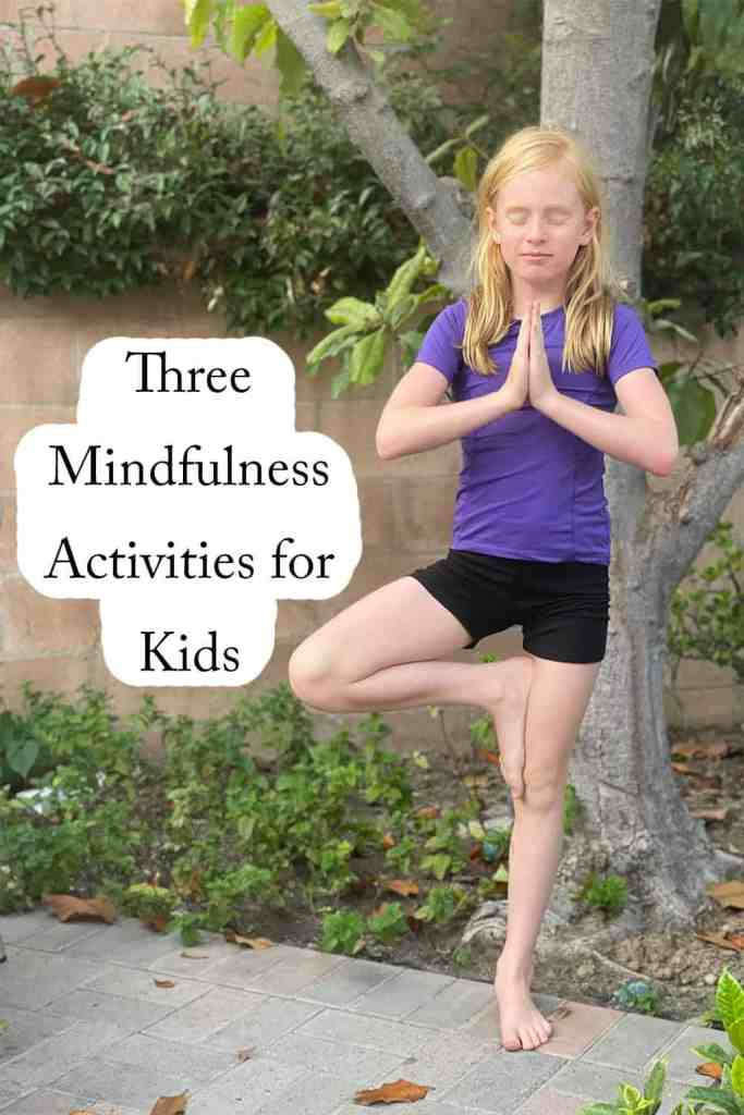 Child standing in yoga pose practicing mindfulness activity