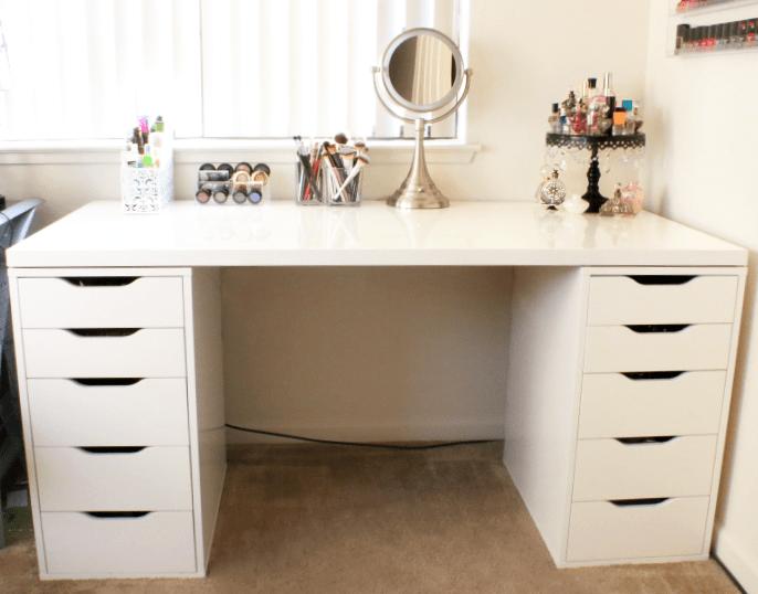 Diy Makeup Vanity With Ikea Pieces Peek Ponder