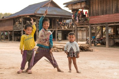 Kids are almost always happy to see foreigners - Akha village near Muang Sing