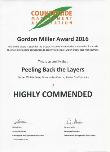 Gordon Miller Award Certificate showing that the project was Highly Commended