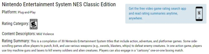 NES Classic Edition ESRB Rating