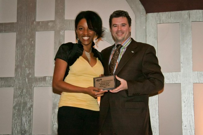 JCI Winnipeg - 2012 Member of the Year Natalie Bell (with Kelly Faubert - Past President)