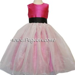 ab10fcf40f Shock Pink And Black Sash Silk Flower Girl Dresses Pegeen