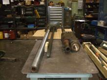 Large feed and drive shafts.