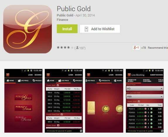 Aplikasi Public Gold di Google Playstore