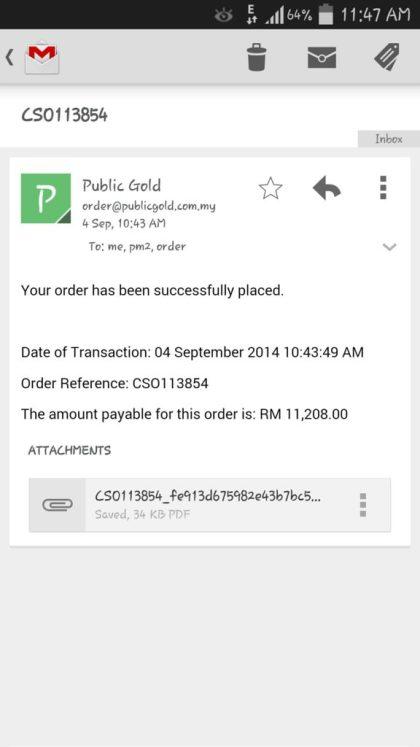 Emel Public Gold terima pesanan