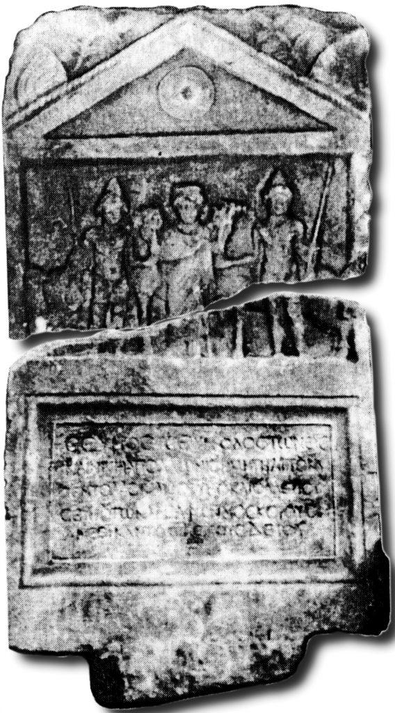 Надгробната плоча (псеудоедикула) со претстава на Диоскурите, која потекнува од Градиште
