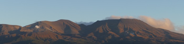 Mount Tongariro, just before the late autumn sun sets.