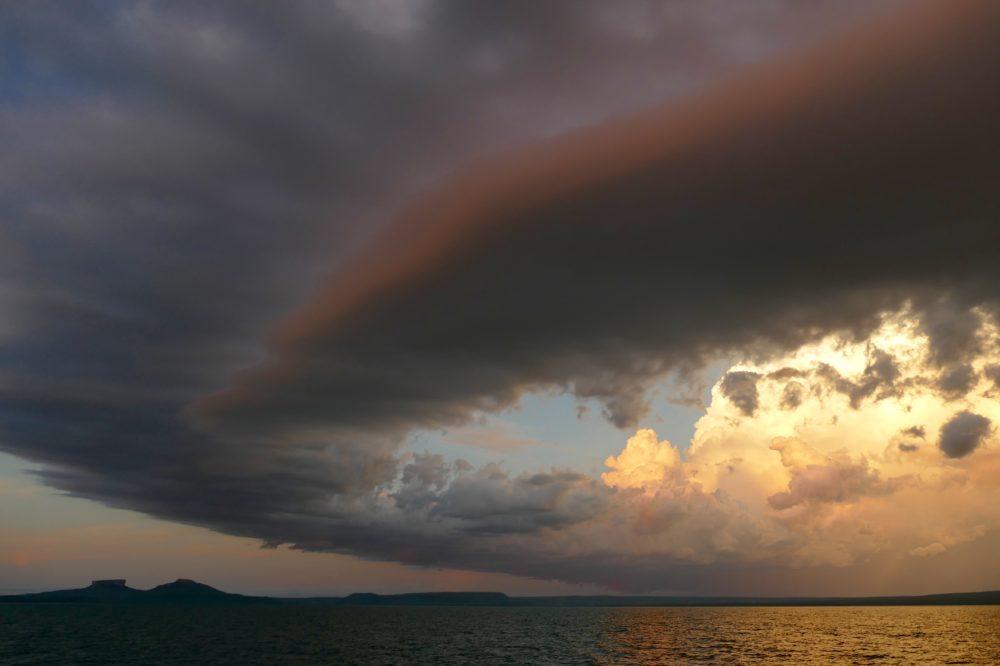 Hanover Bay sky, with Mt Trafalgar at bottom left.