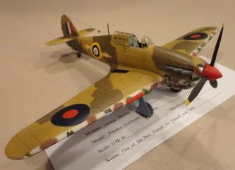 George Brown flies in with this 1:48 Airfix Hawker Hurricane Mk.I Tropical almost OOB.