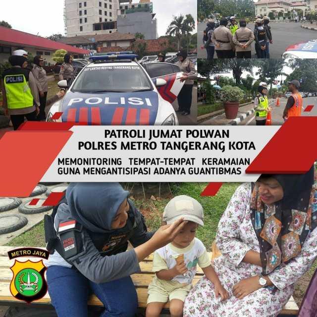 Kaum Pria Shalat Jumat, Polwan Cantik Berpatroli Mengayomi Warga Kota Tangerang