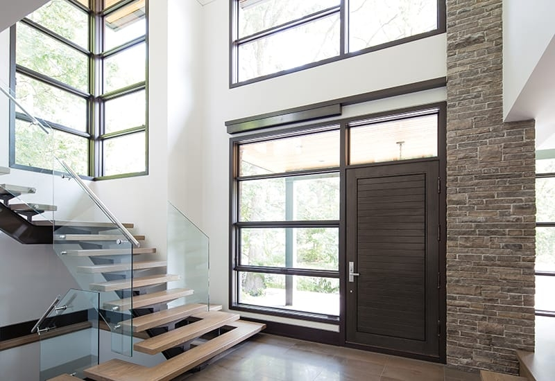 What You Need To Know About Picture Windows | Staircase Side Window Designs | Window Furniture | Two Story | Angled Staircase | Bedroom | Corner