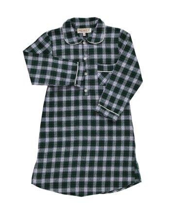 Camicia da notte in flanella verde scozzese