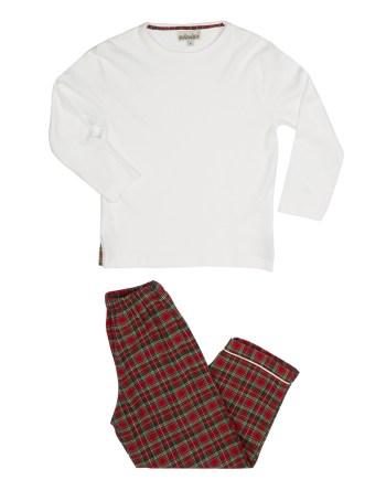 pigiama flanella lungo rosso scozzese