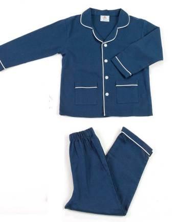 pigiama in flanella lungo blu unito
