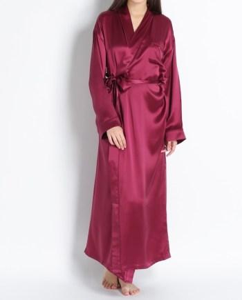 Vestaglia stile kimono lungo in raso di seta bordeaux