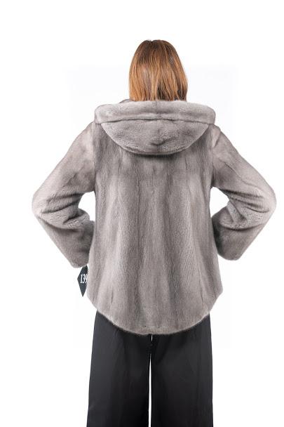 Gray mink jacket with hood