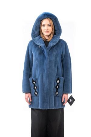 Hooded jacket in light blue mink