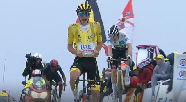 Tadej Pogacar vence em chegada ao alto no Tour de France