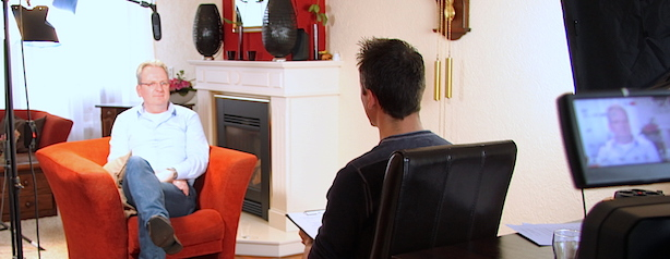 Interview tijdens videoproductie voor Monuta