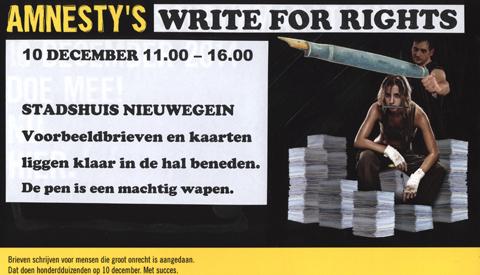 'Write for Rights' van Amnesty International in Nieuwegein