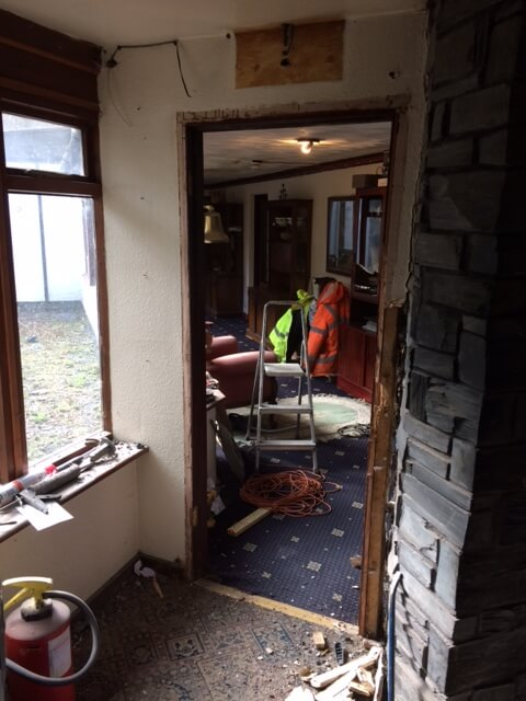 First today, Mike removed this door, closely followed by the door frame and stud wall
