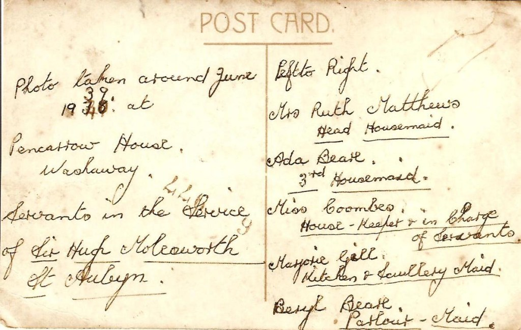 Back of a photograph of the staff at Pencarrow in the 1930s