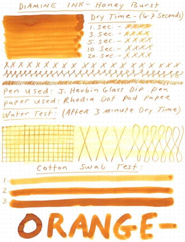 Diamine Honey Burst Ink Review
